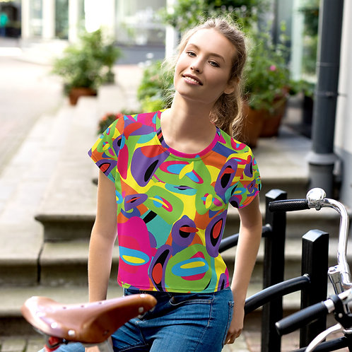 Abstract Neon Bubbles All-Over Print Crop Tee
