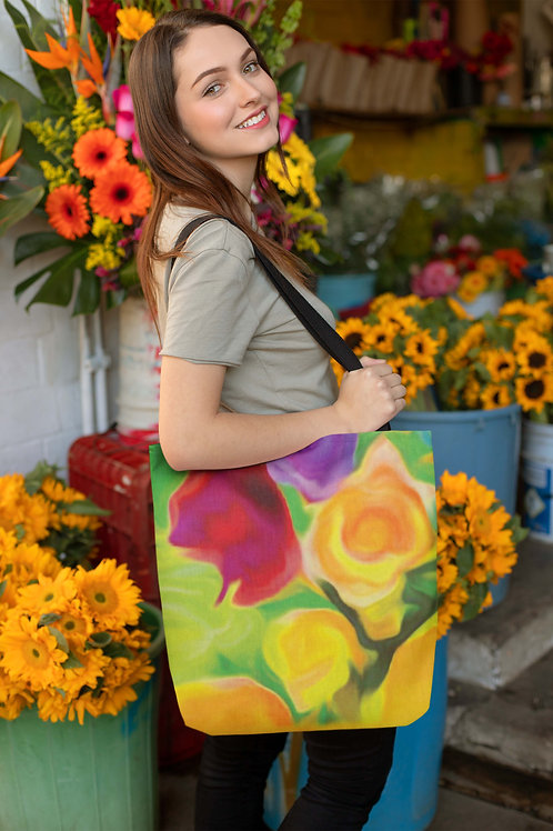 Floral Yellow Rose Beach Bag