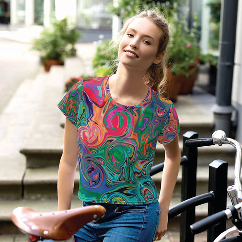 Swirl Abstract in Green Blue Pink and Orange Crop Tee