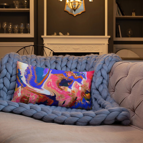 Psychedelic Pink and Blue Abstract Premium Pillow