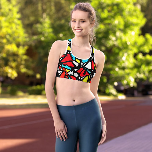 Abstract Checkerboard Padded Sports Bra