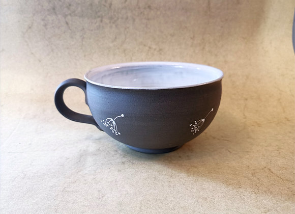 Milchkaffeetasse - Grau / Weiss