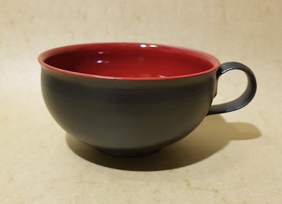 Milchkaffeetasse Rot-Schwarz