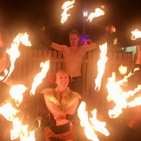 Fire show at a dance party in Lakewood