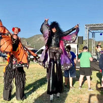 Stilt walkers at a birthday party in Estes Park