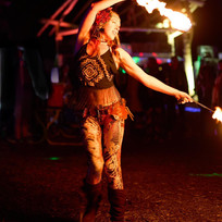 Fire dancing at a music festival in the Colorado mountains