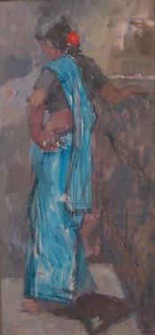 Woman in a Blue Saree, Rajasthan