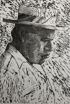 Man in a Straw Hat, Tahiti 1984