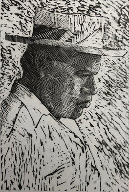 Man in a Straw Hat, Tahiti 1984