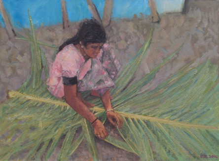 Woman in Pink Weaving Palm Leaves