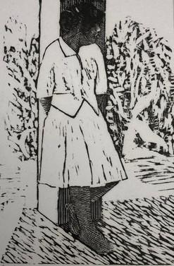 Girl Leaning Against a Pillar, Tahiti 1984