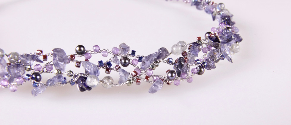 """PEARLS ON WIRE Collier """"purple night"""""""