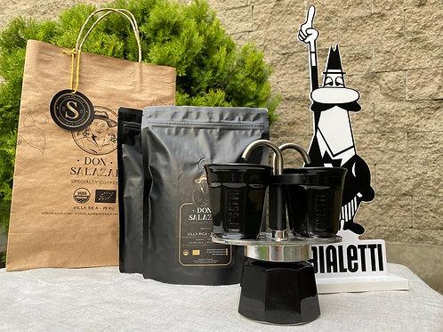 Moka Italiana Bialetti Mini Express + 2 tazas + 2 bolsas de 1/4