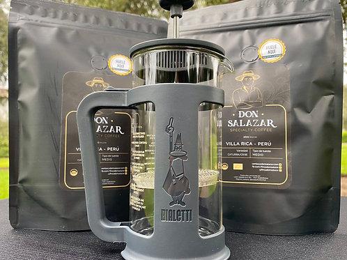 Prensa Bialetti Smart Negro 350ml + 2 bolsas de 1/4