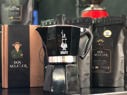 Moka Italiana Express negra (6 tazas) + 2 bolsas de 1/4