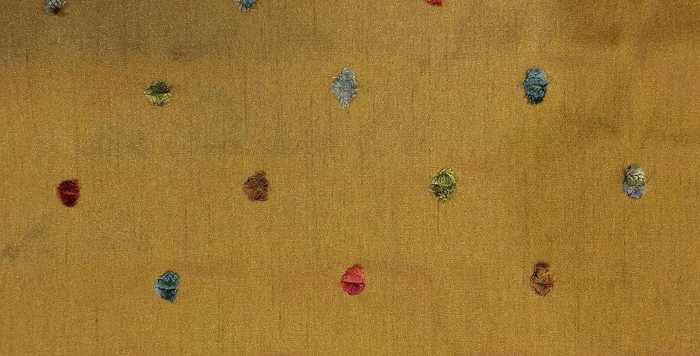 Multicolored Chenille Dot on Carmel Fabric