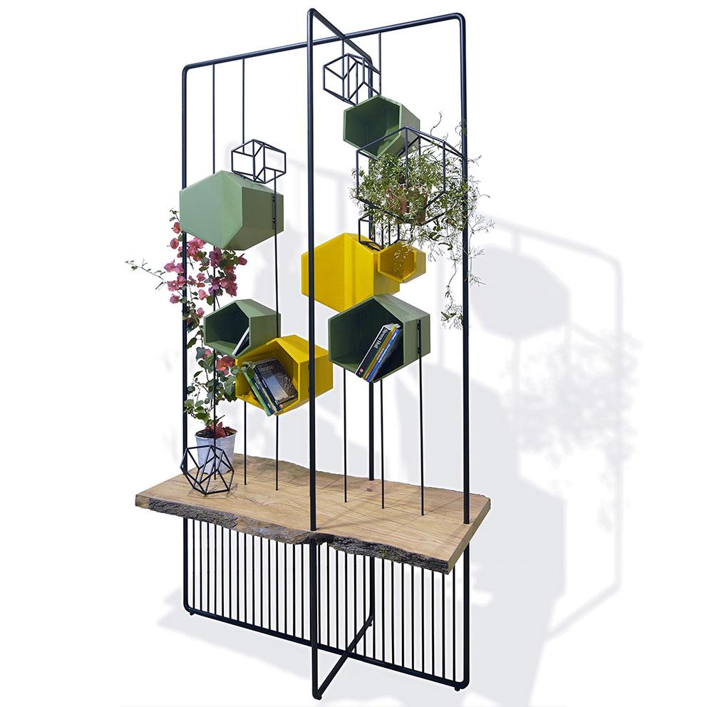 libreria-e-parete-verde