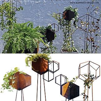 fioriere in corten di forma esagonale.le fioriere sono elementi per la creazione di pareti verdi o giardini verticali, in casa o all'aperto.