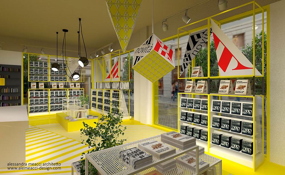 retail design: progetto di sistemi espositivi e di arredamento per librerie