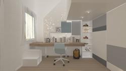 scala con libreria e scrivania