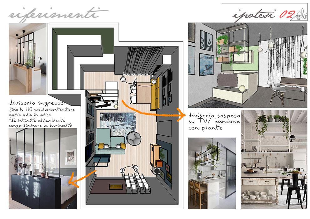 progetto di interior design e ridefinizine dell'arredamento : gli interni vengono ripensati grazie ad una divesa distribuzione dell'arredamento ed all'inserimento di mobili su misura