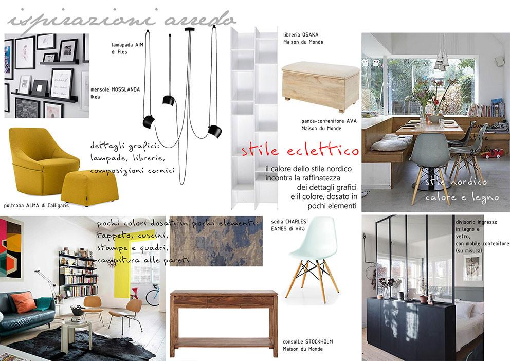 nella tavola con le ispirazioni di arredo c'è una selezone di complementi di arredo che aiutano a dare carattere all'ambiente, accostando materiali, colori e stili per creare un atmosfera unica e personale