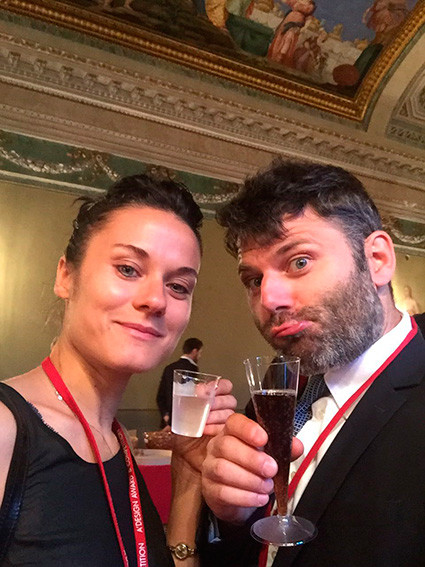 """La serata di premiazione del concorso di Design """"A' Design Award&Competition"""" a Villa Olmo sul lago di Como. Un brindisi a Bolina che vince il premio nella categoria """"Furniture, Decorative Items and Homeware Design Award Category"""""""