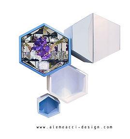 pensili per pareti attrezzate di design, in legno laccato e inserti di specchio, sulle tonalità del bianco e dell'azzurro
