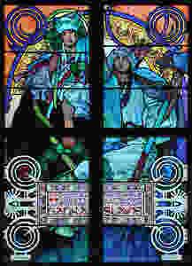vetrate di Mucha in stile Liberty nella Cattedrale di Praga , dettaglio.