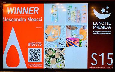 """Premiazione del concorso di Design """"A' Design Award&Competition"""" : serata di gala sul lago di Como. Bolina vince il premio nella categoria """"Furniture, Decorative Items and Homeware Design Award Category"""""""