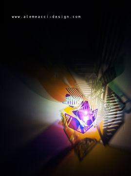 lampada da parete  ispirata agli origami, in plexiglass, a forma di foglia