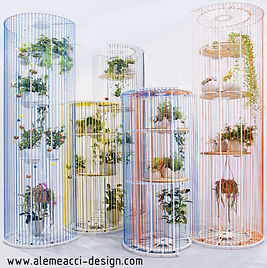 Bolina: sringshelf , roomdivider , vertical garden!  Bring colors in your house or in your open-space office, whit a wire-design separè , creating a sinous green wall