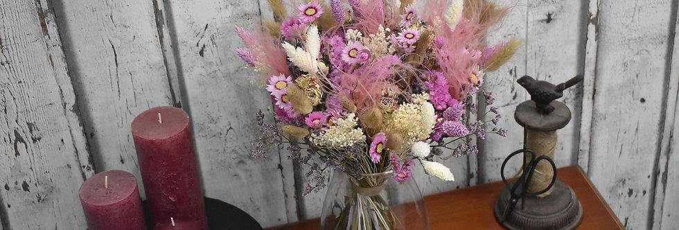 ~La Vie en Rose ~ Bouquet vaporeux de fleurs séchées rose et crème