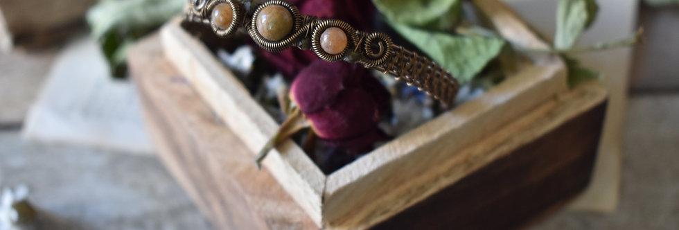 ~Odyssée~ Bracelet bronze wire et perles d'Agate vert/orangé