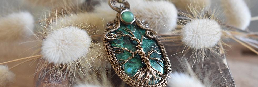 Réservé ~Pin Maritime ~ Collier wire bronze Arbre de vie en Chrysocolle