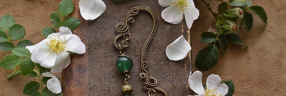 ~Little Mirdan ~ Marque-pages wire Bronze et perles d'aventurine