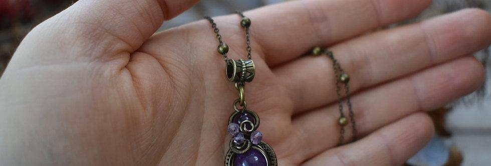 ~Little-Hwind~ Pendentif wire Bronze et Perles d'Améthyste