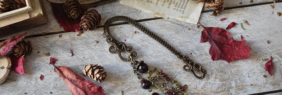 ~Mirdan ~ Marque-pages wire Bronze en Grenat