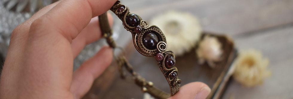 ~Grand Odyssée~ Bracelet bronze wire et perles de Grenat