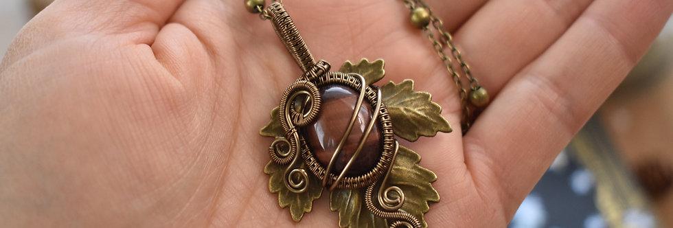 ~Athélas~ Pendentif Feuille Bronze et wire Bronze en Oeil de Taureau