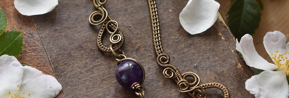 ~Little Mirdan ~ Marque-pages wire Bronze et perles d'Améthyste