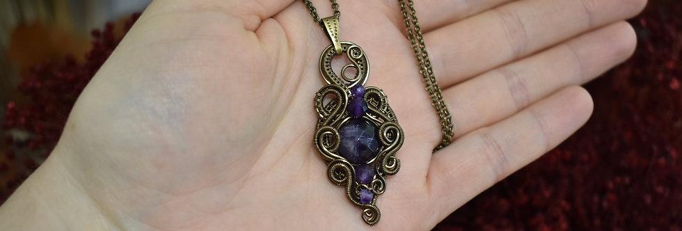 ~Potion magique ~ Collier wire bronze en Perles facettées d'Améthyste