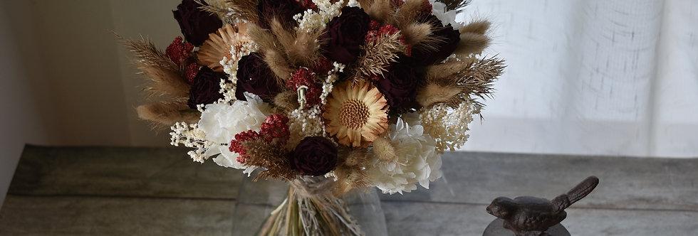 ~Romantique~ Bouquet rond de Fleurs séchées marron glacé, rouge et blanc