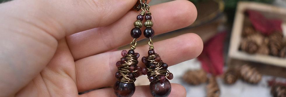 ~Elegance~Boucles d'oreilles Wire Bronze perles de Grenat