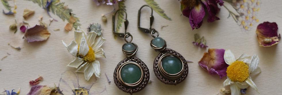 ~Tithen~ Petite Boucles d'oreilles Bronze et perles d'Aventurine