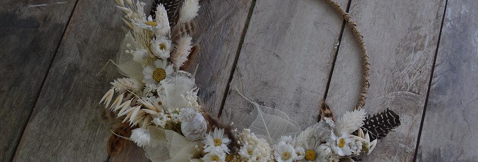 ~Naturelle  ~ Couronne de Fleurs séchées Blanche, Crème et Beige