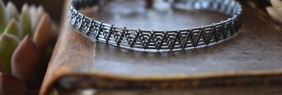 Bracelet Homme tissé 6 brins en wire wrapping fil gris anthracite