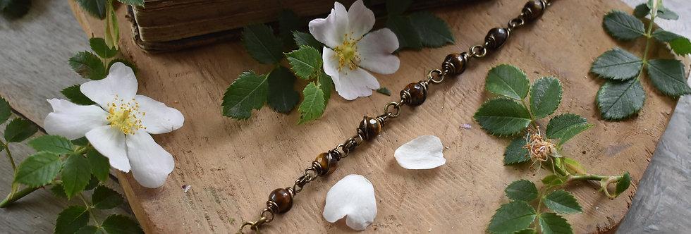 ~Simplicité~ Bracelet bronze wire et perles facettées d'oeil tigre