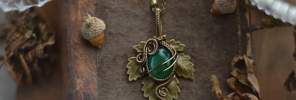 ~Athélas~ Pendentif Feuille Bronze et wire  Bronze en Agate Verte