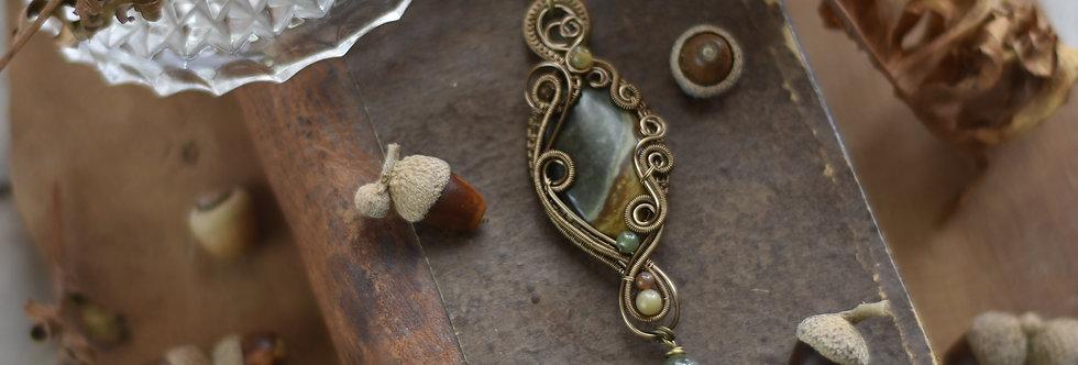 ~Passerage~ Collier wire bronze en Jaspe Polychrome